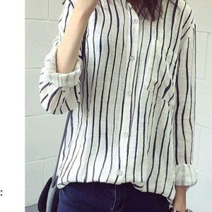 Tops - (3 for $11) Cotton/Linen Blend Striped Blouse Top